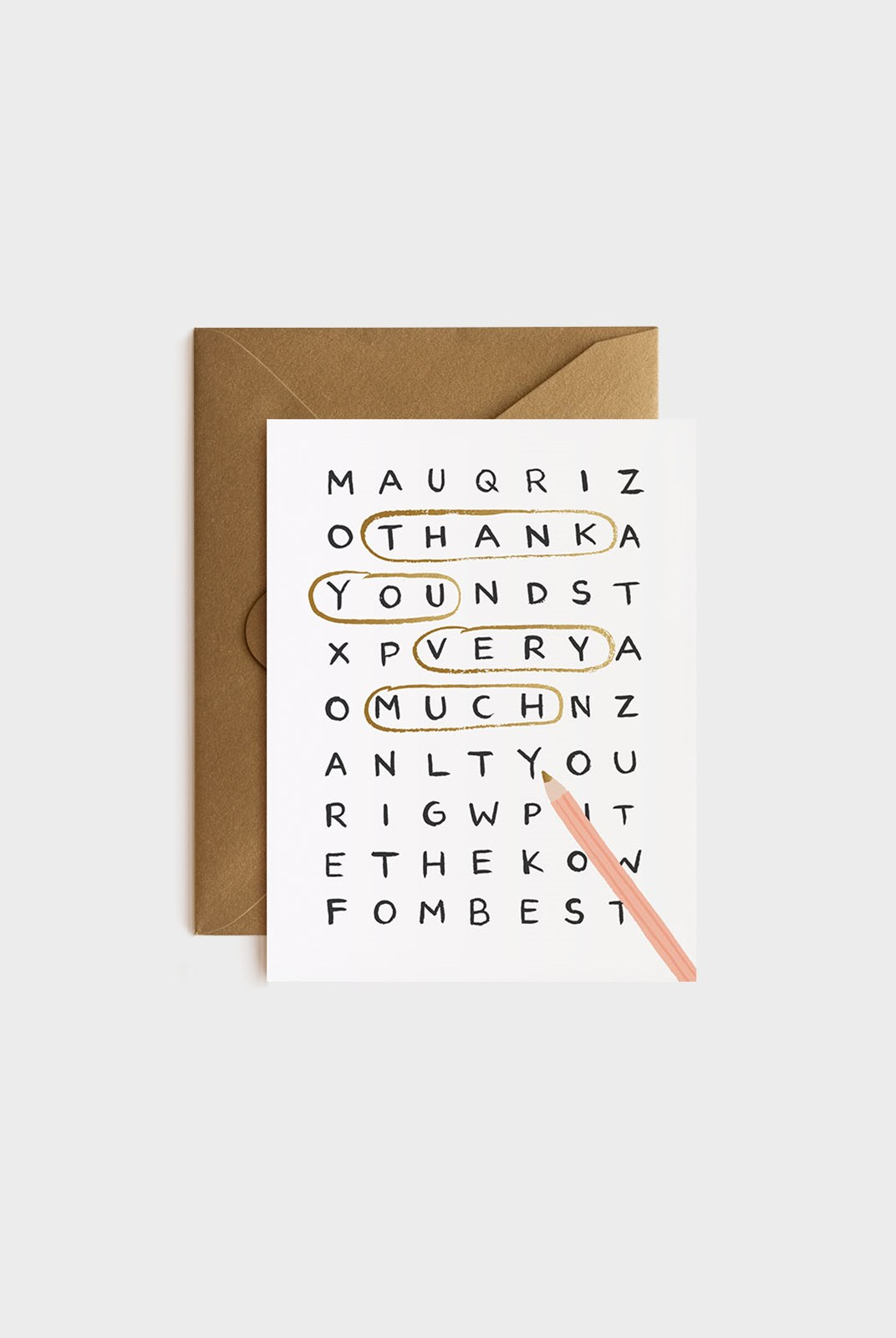 Rifle Paper Co - Single Card - Wordsearch Thank You