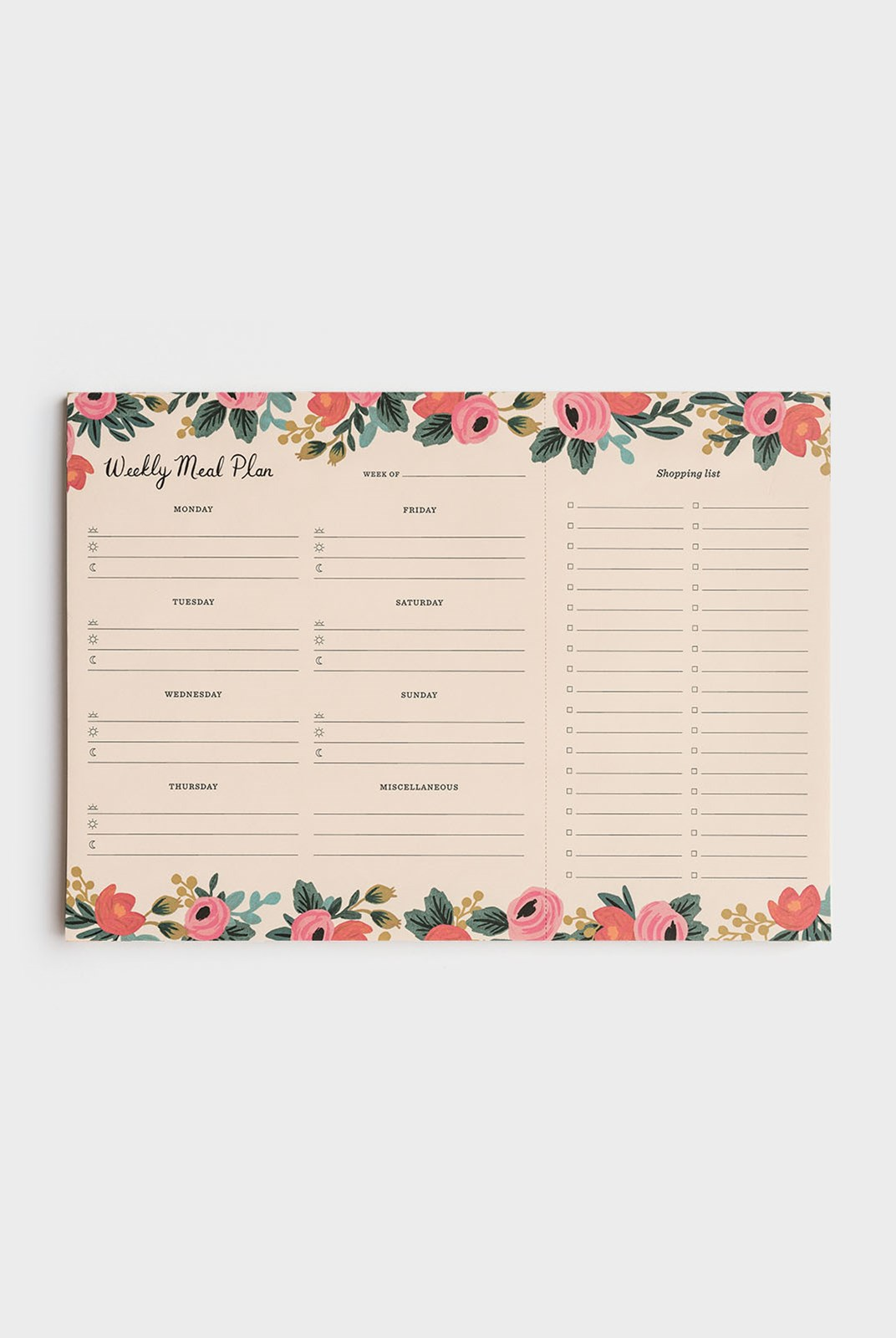 Rifle Paper Co - Weekly Meal Planner Notepad - Rosa