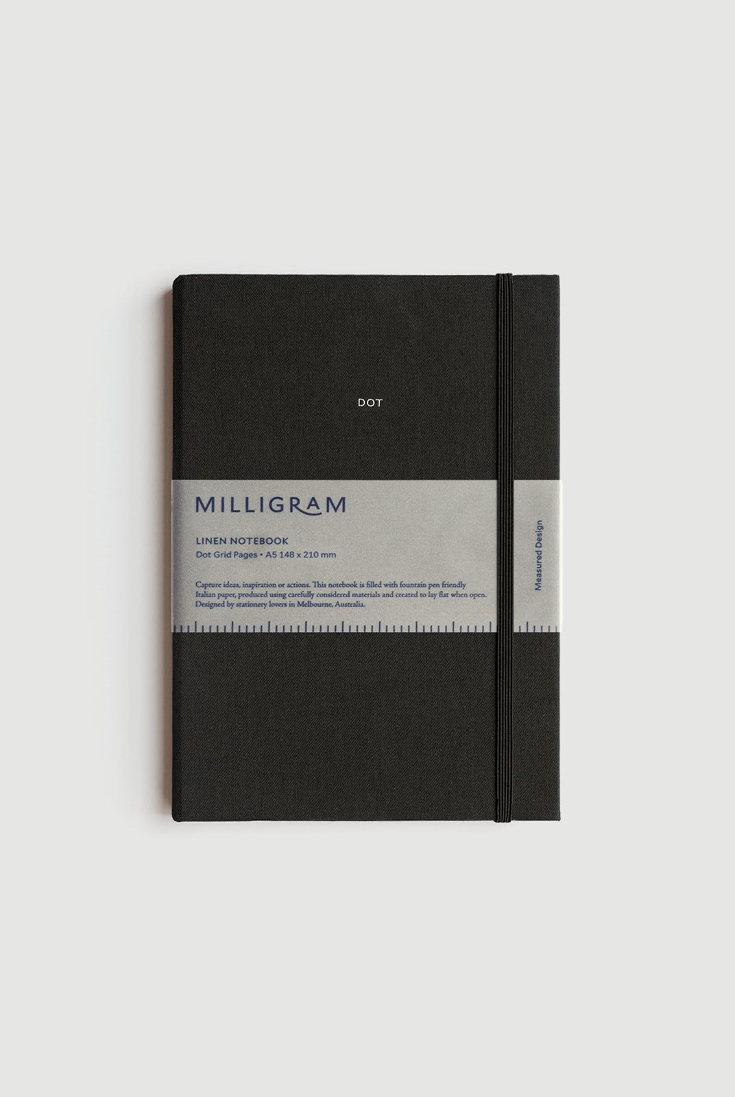 Milligram - Linen Notebook - Dot Grid - A5 - Black