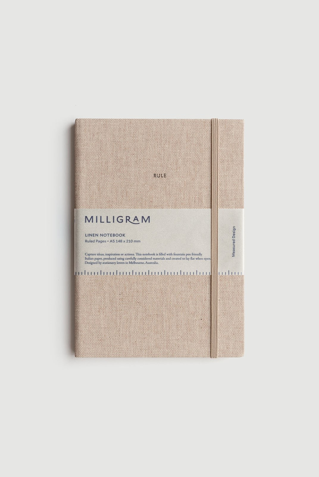 Milligram - Linen Notebook - Ruled - A5 - Beige