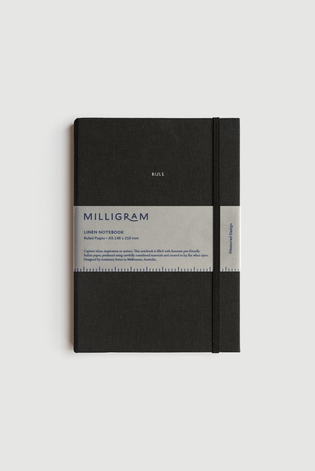 Milligram - Linen Notebook - Ruled - A5 - Black