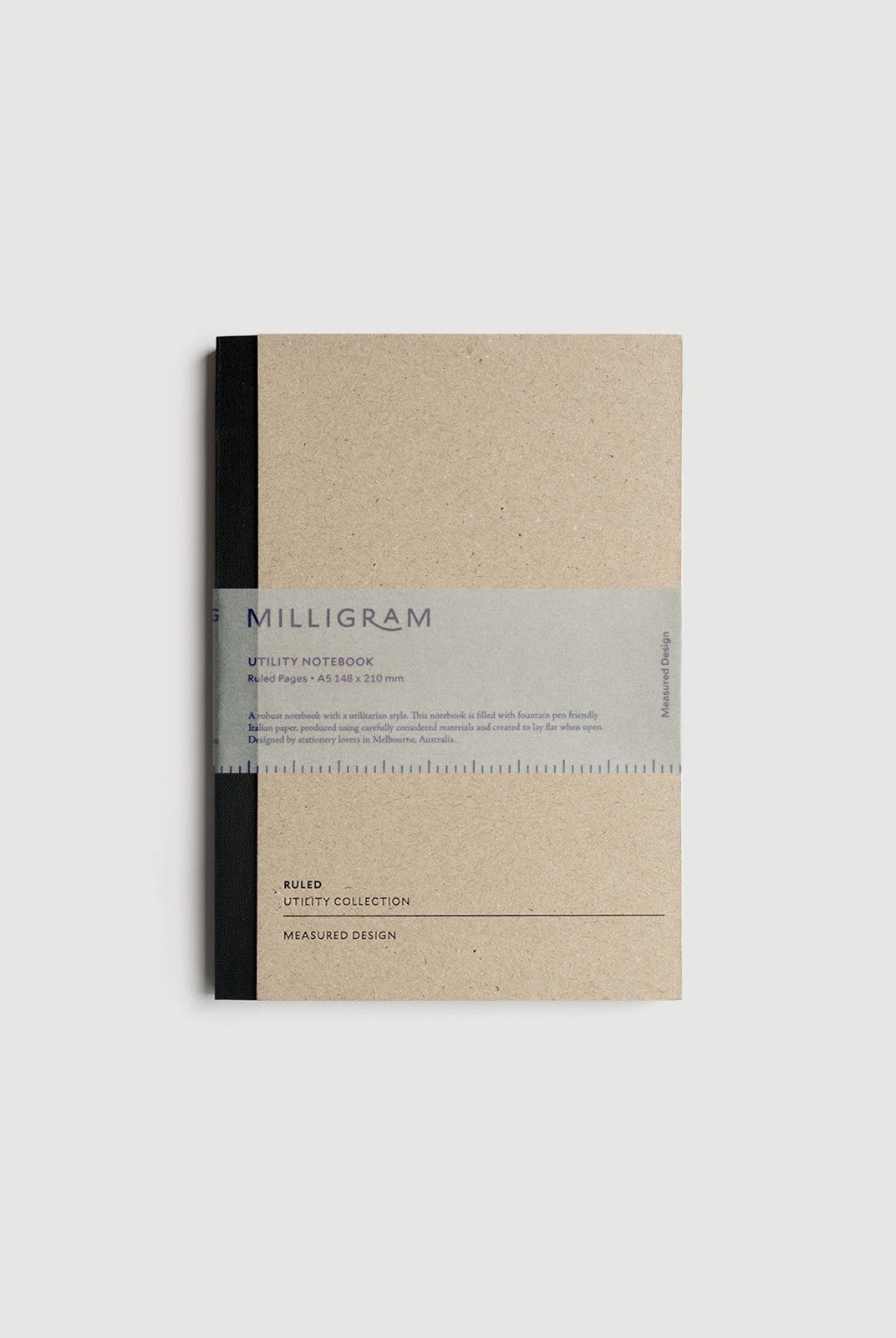 Milligram - Utility Notebook - Ruled - A5 - Black