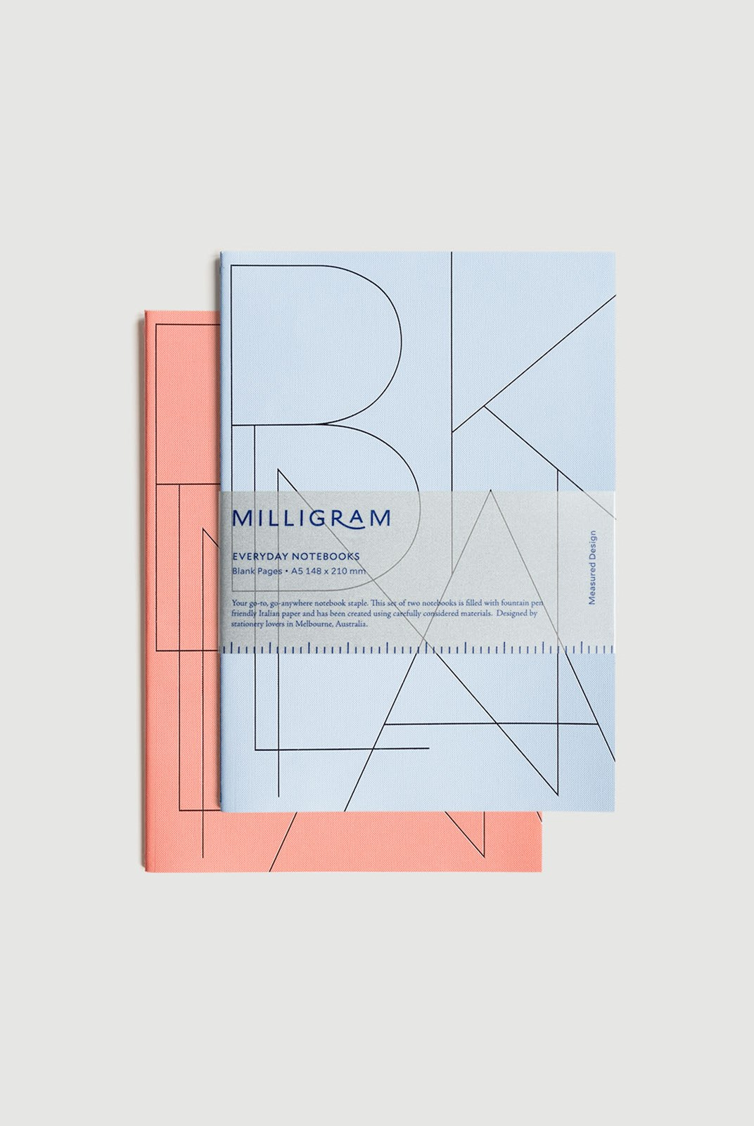 Milligram - Basic Notebook - Set of 2 - Blank - A5 - Peach & Blue