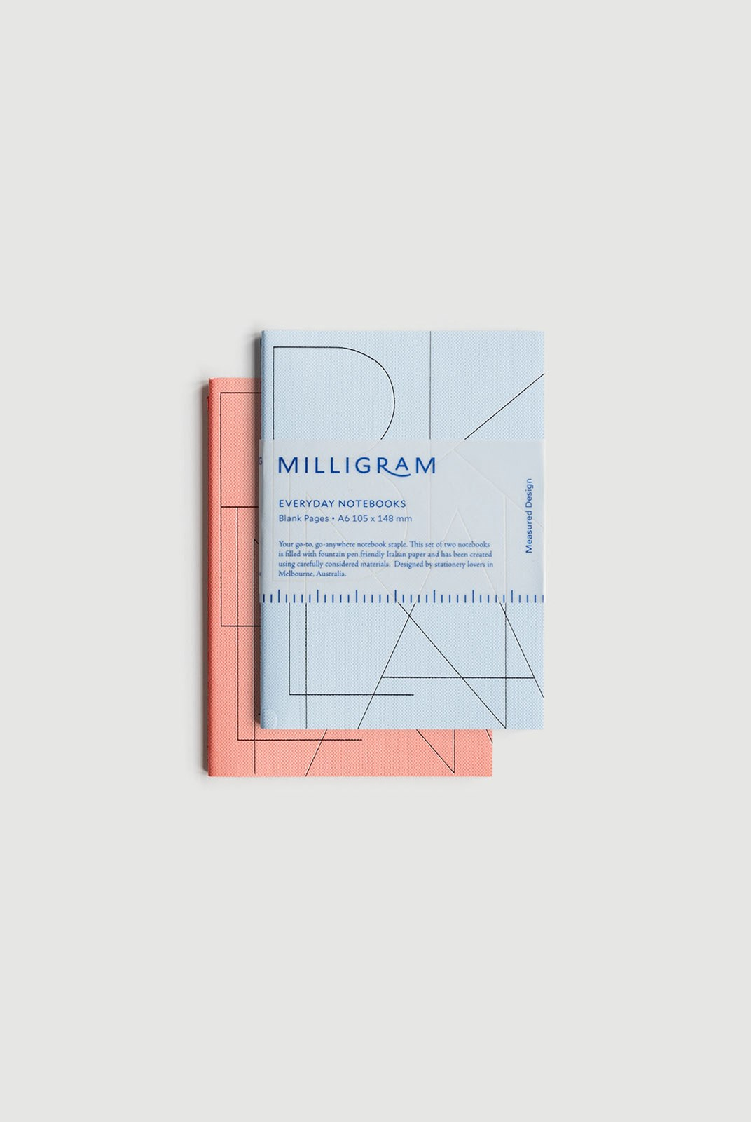 Milligram - Basic Notebook - Set of 2 - Blank - A6 - Peach & Blue