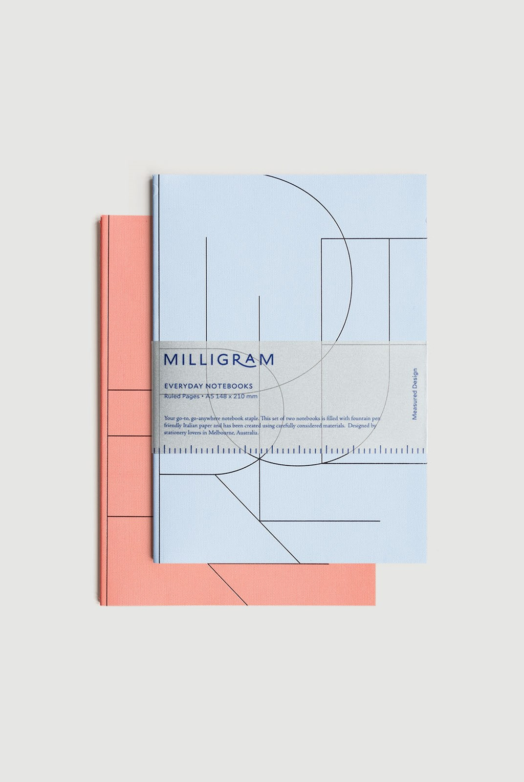 Milligram - Basic Notebook - Set of 2 - Ruled - A5 - Peach & Blue