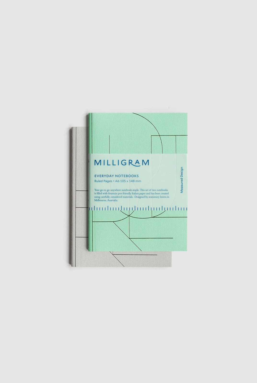 Milligram - Basic Notebook - Set of 2 - Ruled - A6 - Mint & Grey