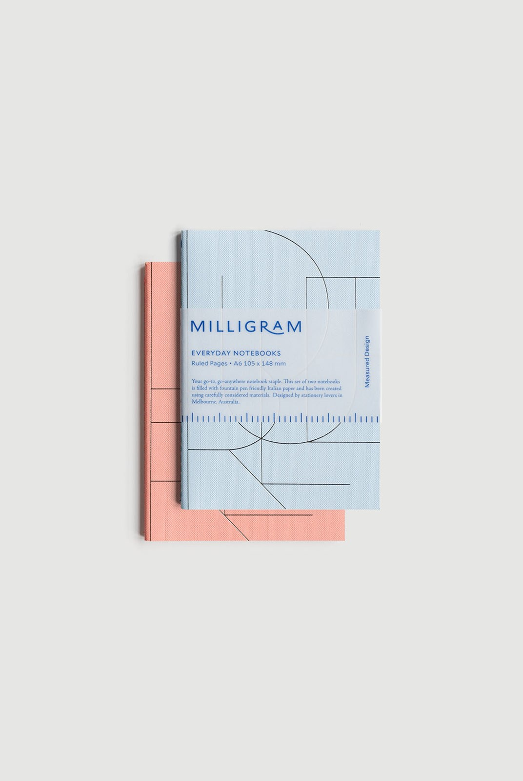 Milligram - Basic Notebook - Set of 2 - Ruled - A6 - Peach & Blue