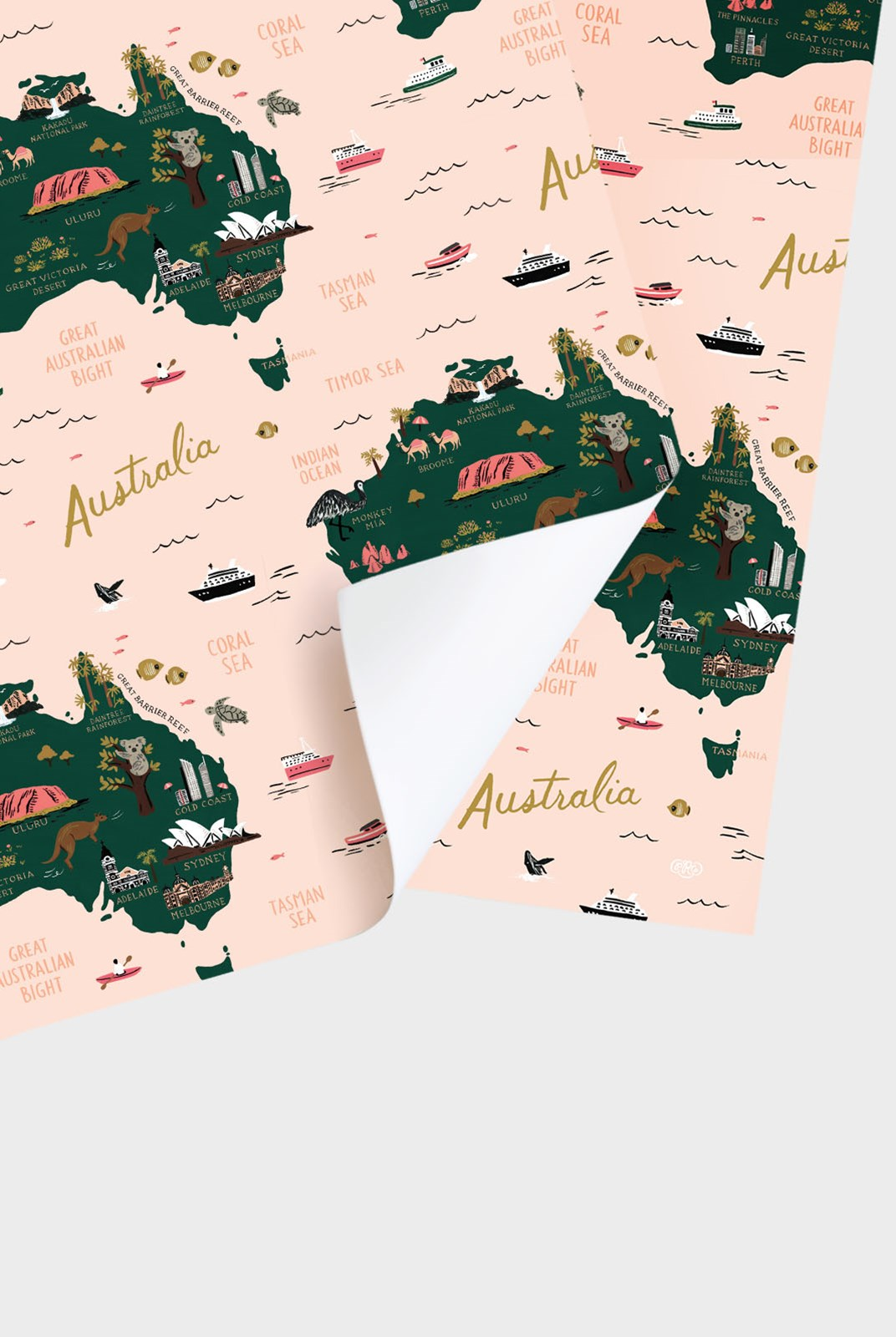 Rifle Paper Co - Single Wrapping Sheet - Map of Australia