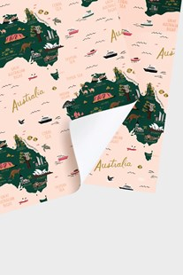 Rifle Paper Co - Single Wrapping Sheet - Map of Australia by  (9346110039945) - Wrapping Paper - Cards & Wrap Wrapping Paper