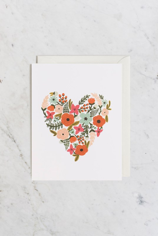 Rifle Paper Co - Single Card - Floral Heart