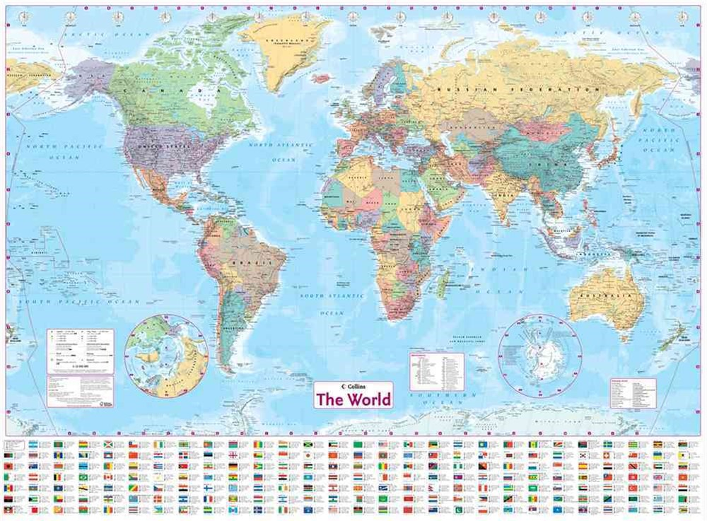 Collins World Wall Paper Map [New Edition]