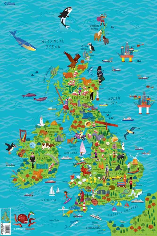 Children's Map Of The United Kingdom And Ireland