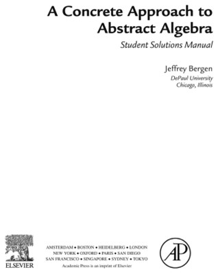 A Concrete Approach To Abstract Algebra,Student Solutions Manual (e-only)