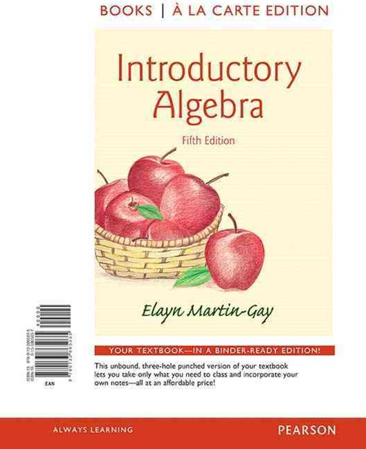 Introductory Algebra, Books a la Carte Edition