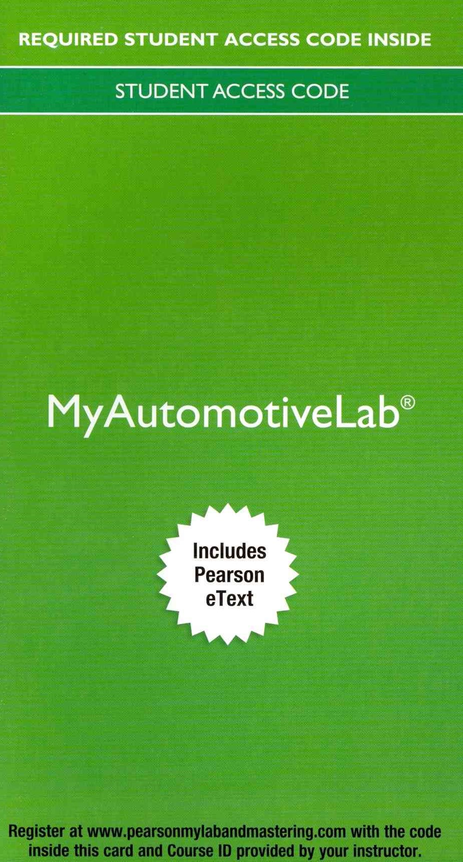 My Automotive Lab with Pearson EText -- Access Code Card -- for Automotive Technology