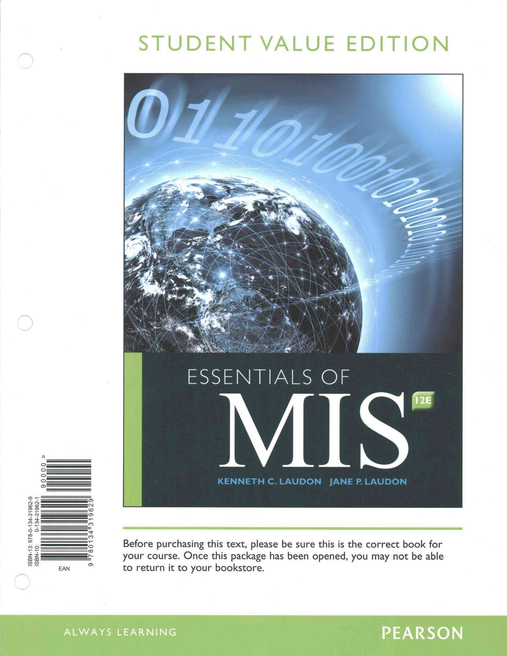 Essentials of MIS, Student Value Edition Plus MyMISLab with Pearson EText -- Access Card Package
