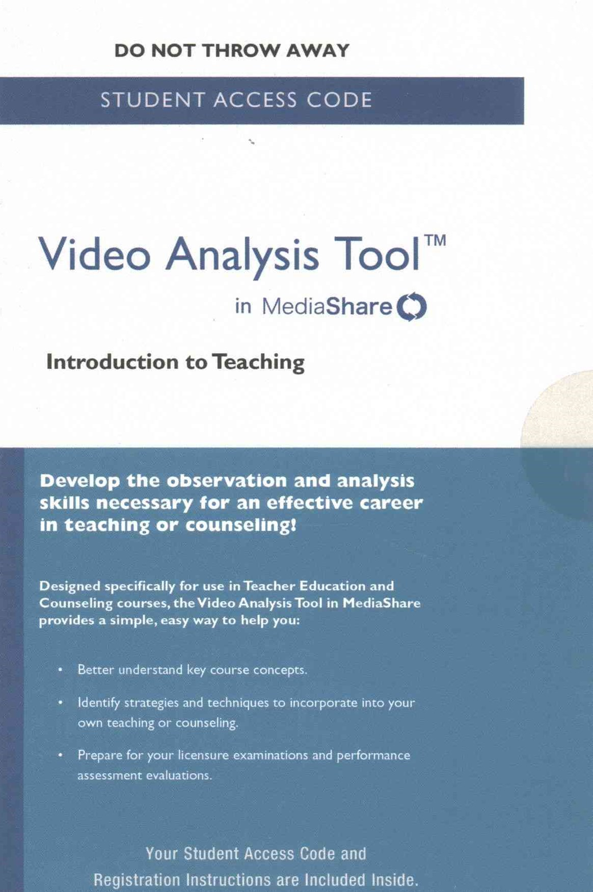 Video Analysis Tool for Introduction to Teaching in MediaShare -- Standalone Access Card