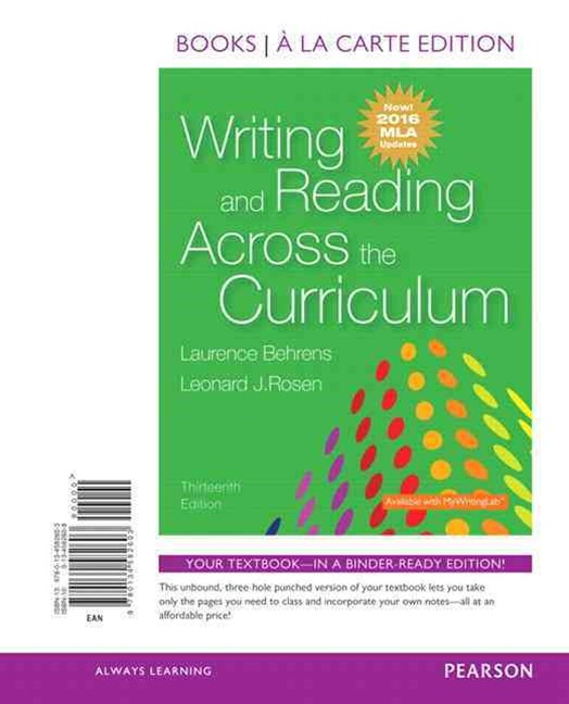 Writing and Reading Across the Curriculum, Books a la Carte Edition, MLA Update Edition