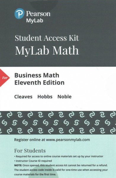 Mymathlab + Pearson Etext Standalone Access Card for Business Math