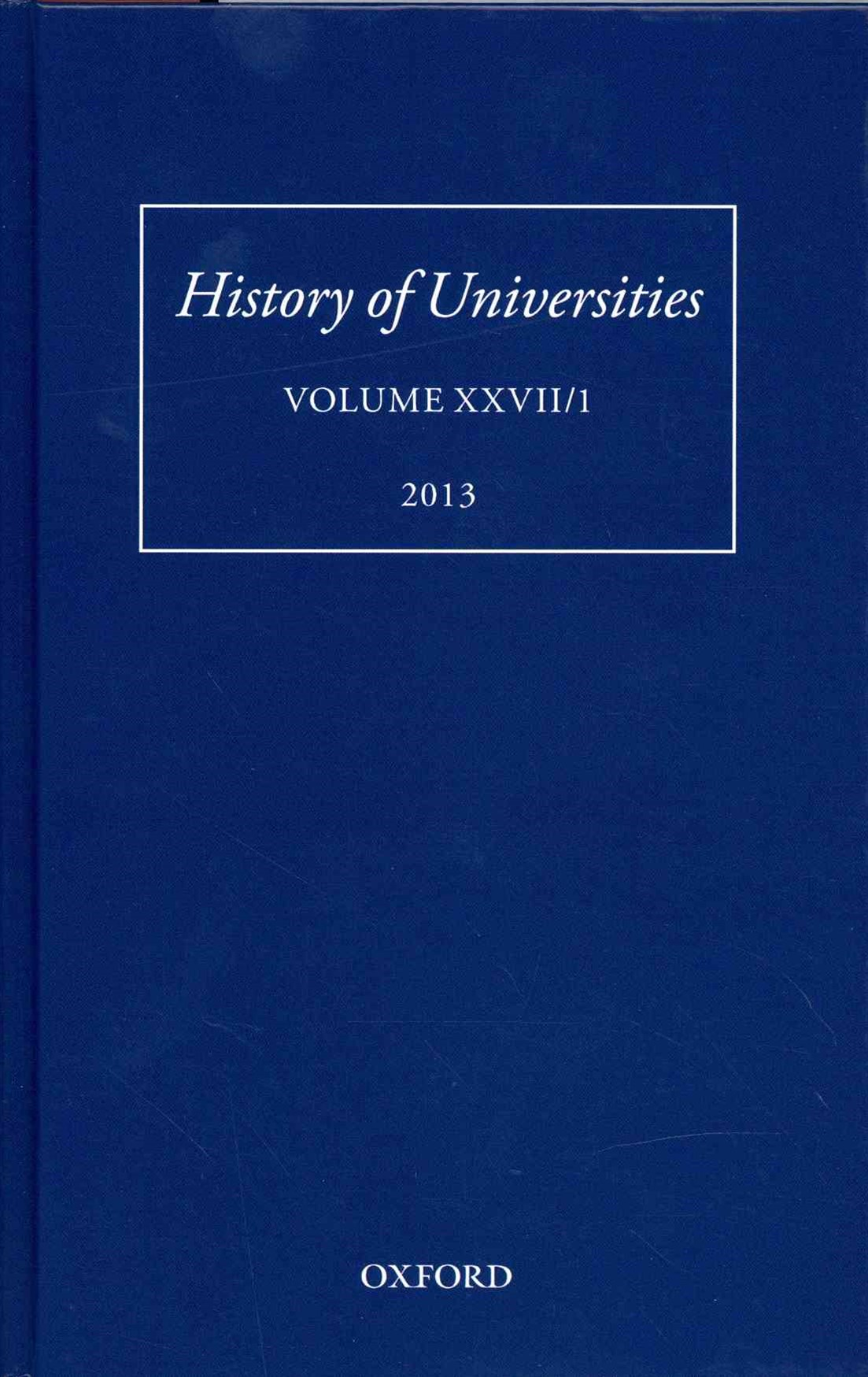 History of Universities, Volume XXVII/1