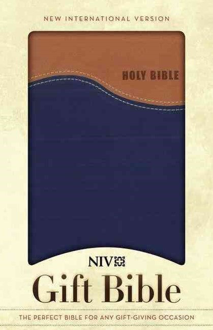 NIV Gift Bible: Tan/Blue Duo Leather Bound