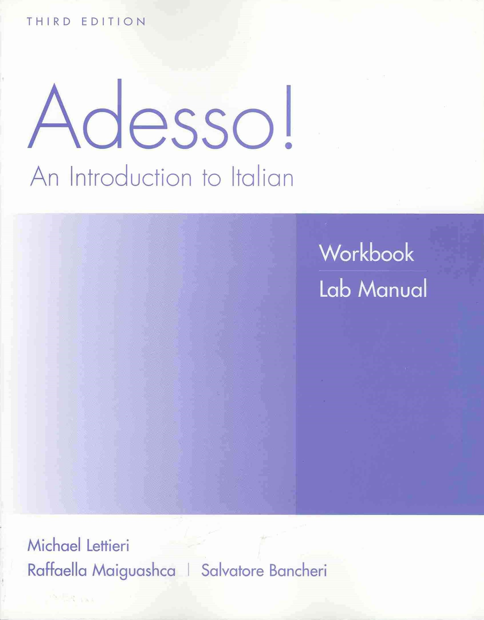 Adesso! an Introduction to Italian 3E Workbook/Lab Manual