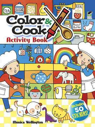 Color and Cook Activity Book with 30 Stickers!
