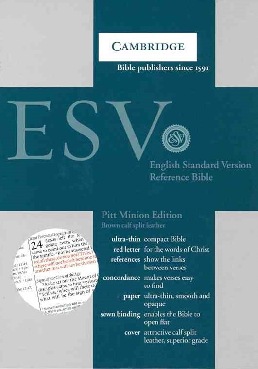 ESV Pitt Minion Reference Bible, Brown Calfsplit Leather, Red Letter Text ES444:XR