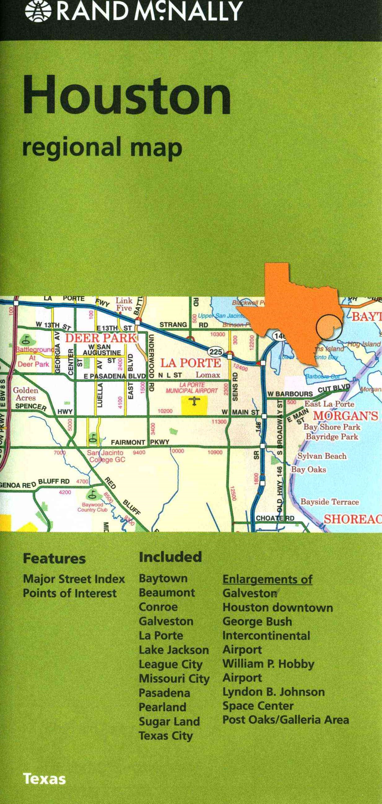 Rand McNally Houston regional map, Texas