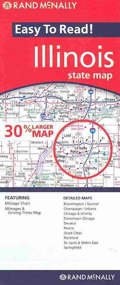 Rand Mcnally Easy to Read Illinois