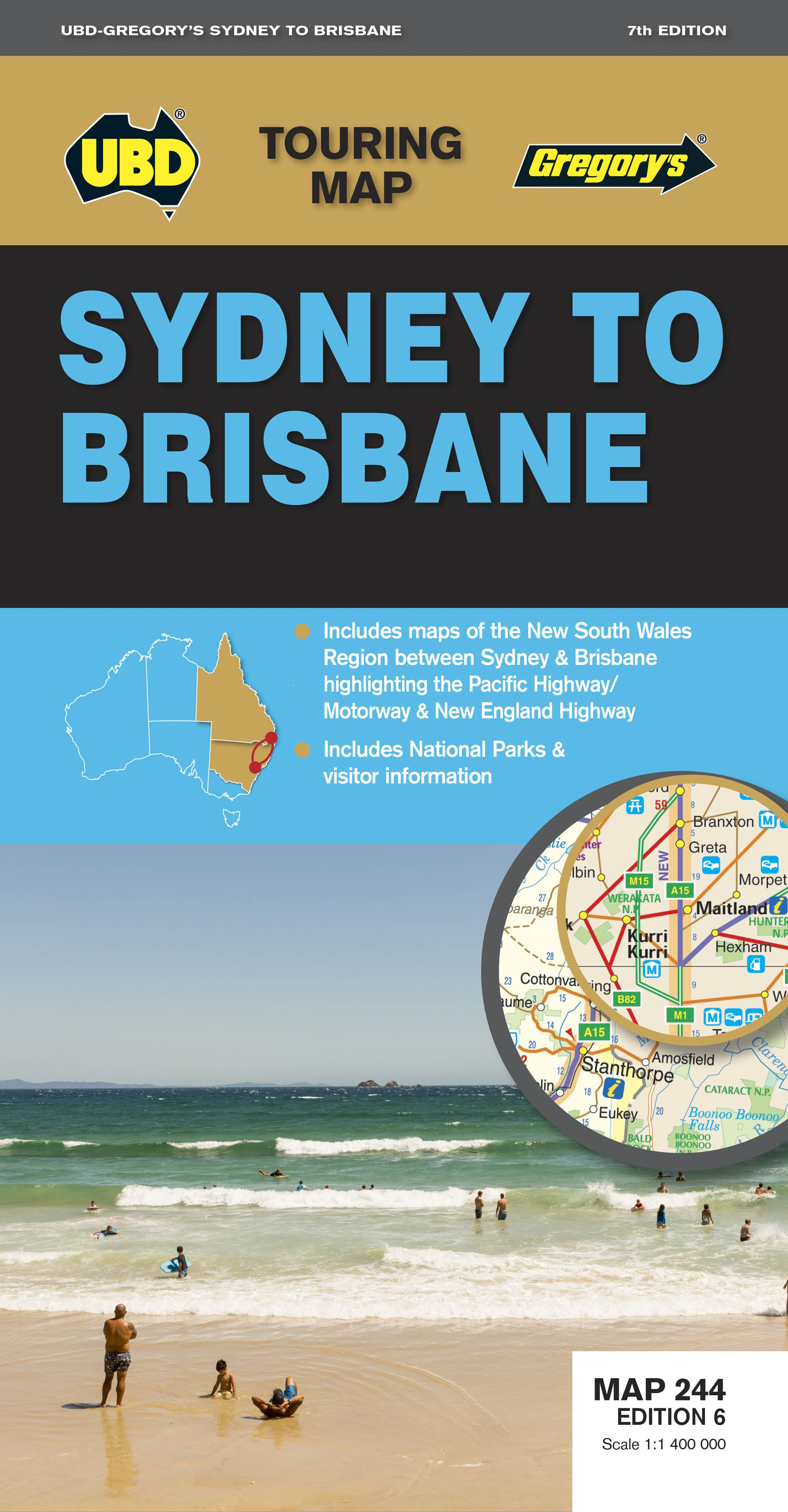 SYDNEY TO BRISBANE 244 7ED MAP UBD