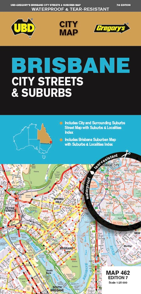 BRISBANE CITY & SUBURBS MAP 462 7ED UBDS