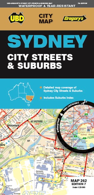 Sydney City Streets & Suburbs Map 262 7th Waterproof