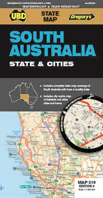 South Australia State & Cities Map 519 8th Waterproof