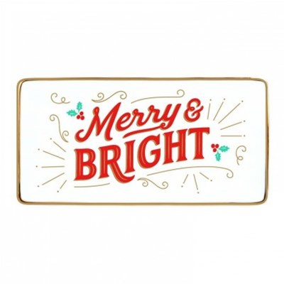 Merry & Bright Rectangle Porcelain Tray