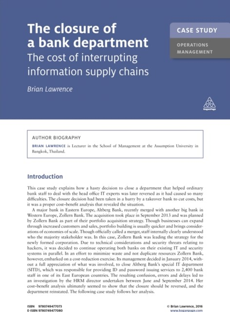 (ebook) Case Study: The Closure of a Bank Department