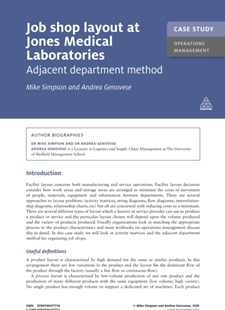 (ebook) Case Study: Job Shop Layout at Jones Medical Laboratories - Business & Finance Organisation & Operations