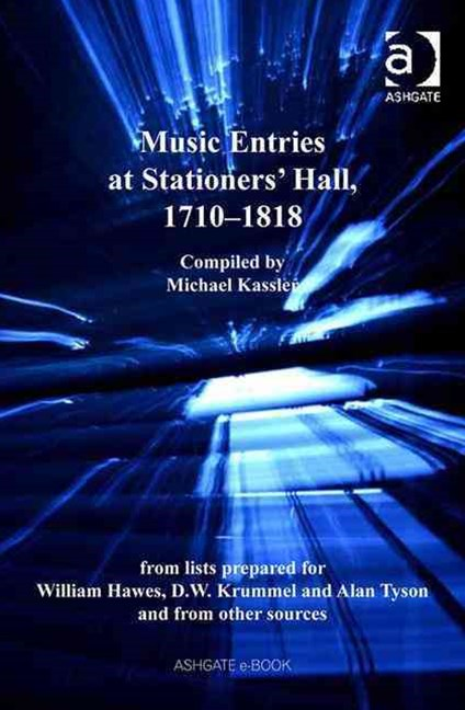 Music Entries at Stationers Hall, 1710-1818