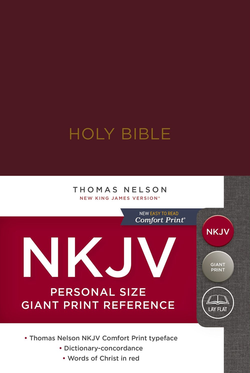 NKJV Personal Size Reference Bible Red Letter Edition [Giant Print, Burgundy]