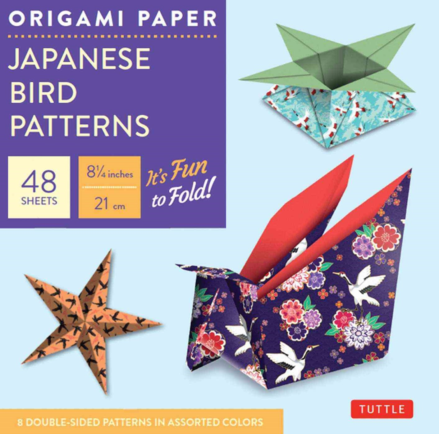 Origami Paper: Japanese Bird Patterns - 21cm