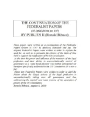 (ebook) Continuation of the Federalist Papers