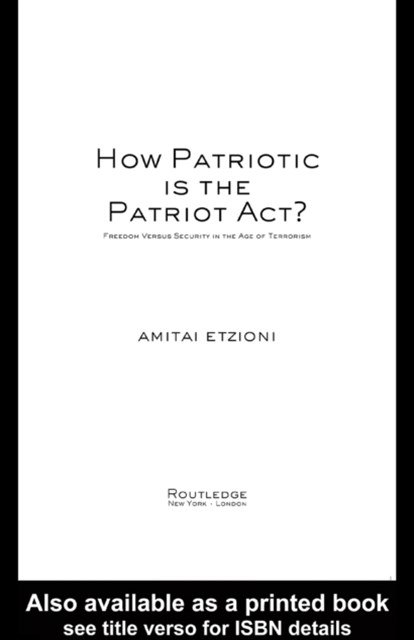 (ebook) How Patriotic is the Patriot Act?