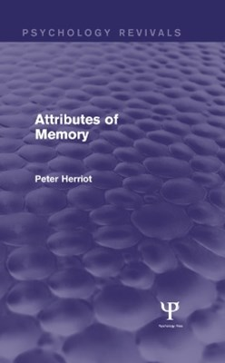 (ebook) Attributes of Memory (Psychology Revivals)