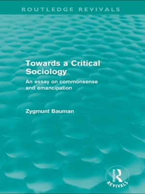 Towards a Critical Sociology (Routledge Revivals)