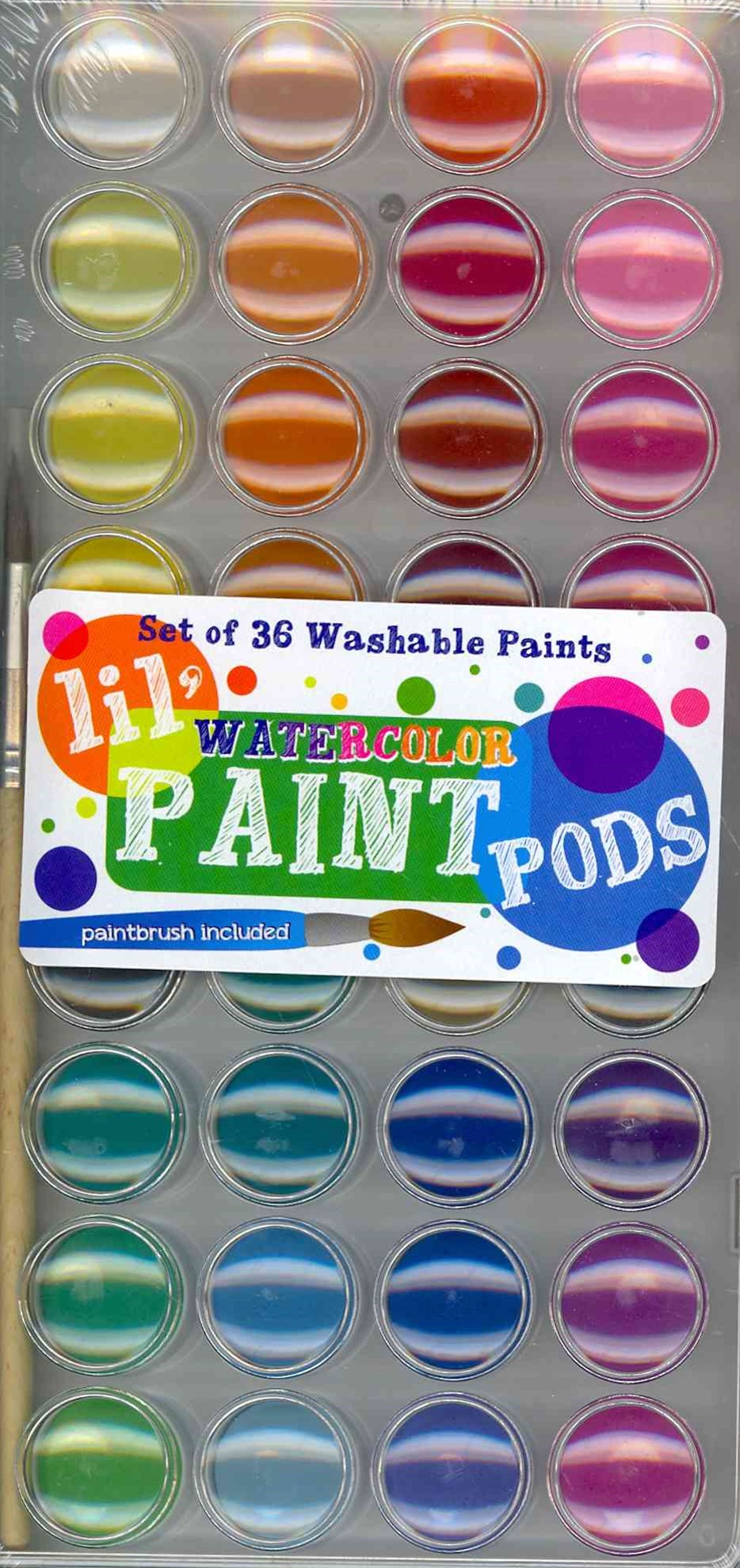 Lil Paint Pods - Set of 36 - Water Colors + Brush