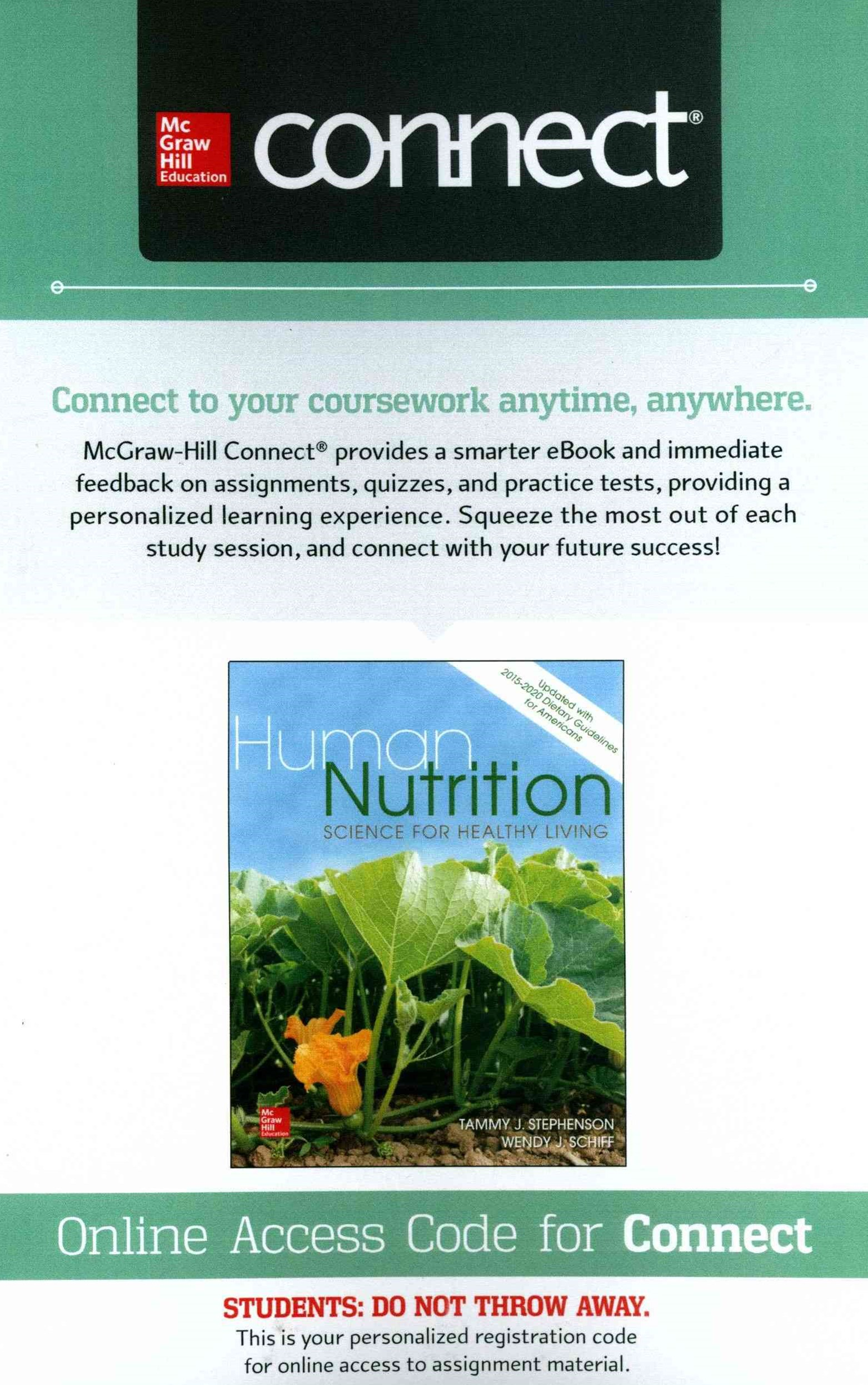 Connect Access Card for Human Nutrition: Science for Healthy Living Updated with 2015-2020 Dietary