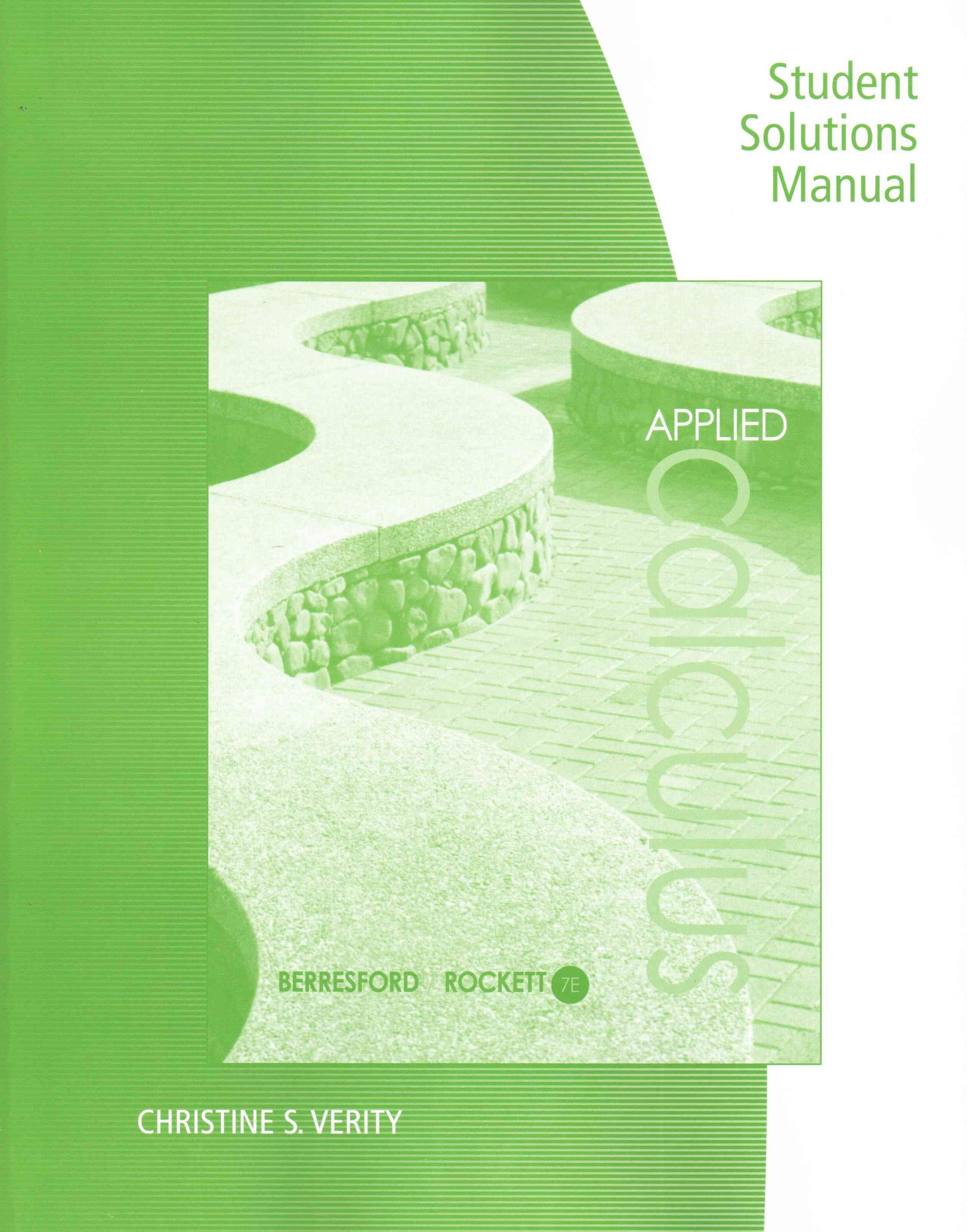 Student Solutions Manual for Berresford/Rockett's Applied Calculus, 7th