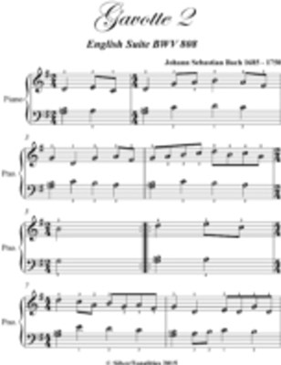 Gavotte 2 English Suite Bwv 808 Easy Piano Sheet Music