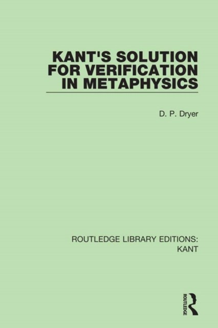 Kant's Solution for Verification in Metaphysics