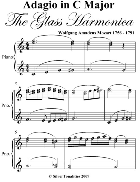 Adagio In C Major the Glass Harmonica Elementary Piano Sheet